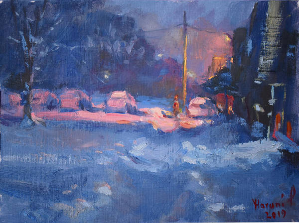 Snow Scene Painting - Winter Nocturne by Ylli Haruni