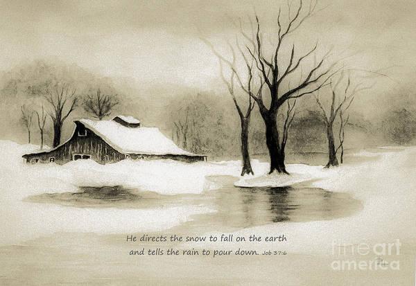Wall Art - Painting - Winter Nostalgia - Verse by Hazel Holland