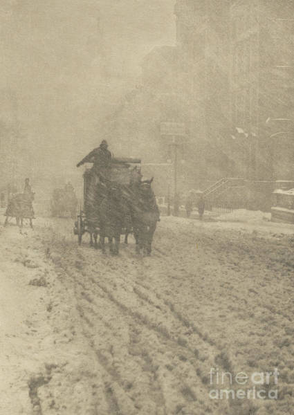 Wintry Photograph - Winter On Fifth Avenue, 1893 by Alfred Stieglitz