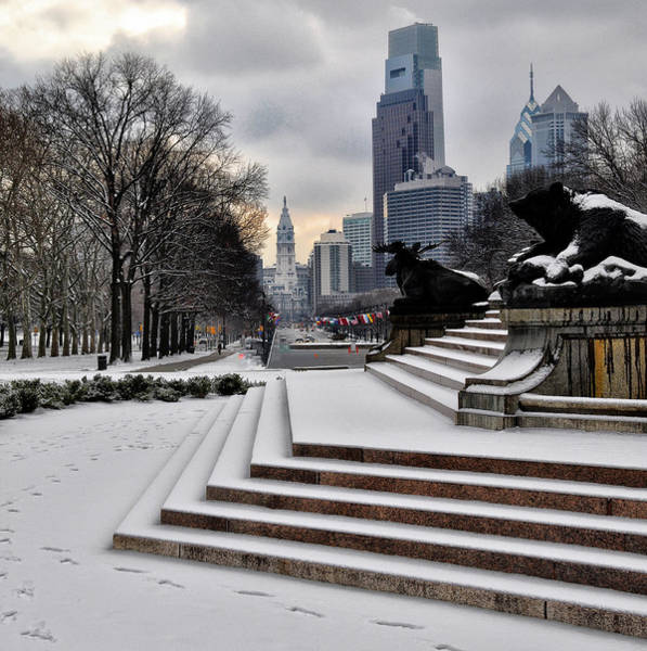 Photograph - Winter On The Parkway - Philadelphia by Bill Cannon