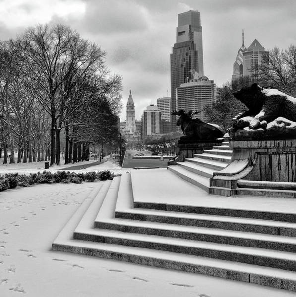 Wall Art - Photograph - Winter On The Parkway - Philadelphia In Black And White by Bill Cannon