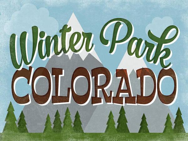 Winter Park Colorado Retro Mountains Art Print