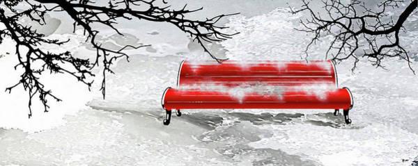Park Bench Mixed Media - Winter Park by Daniel Janda