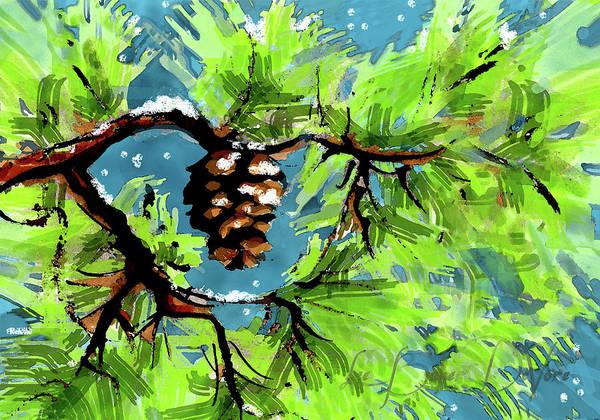 Wall Art - Painting - Winter Pine Card by Lee Baker DeVore