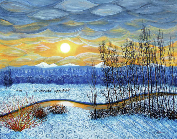 Wall Art - Painting - Winter River In Sunset by Laura Iverson