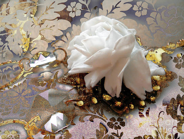Wall Art - Painting - Winter Rose, Golden Light Jewelry Fantasy Art by Tina Lavoie