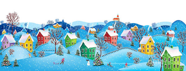 Snowman Wall Art - Digital Art - Winter Rural Landscape To A Happy by Birdydiz