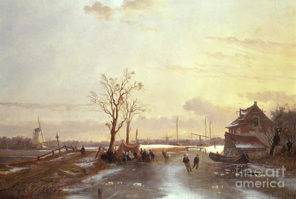 Wall Art - Painting - Winter Scene, 1853 by J Anton Mignon