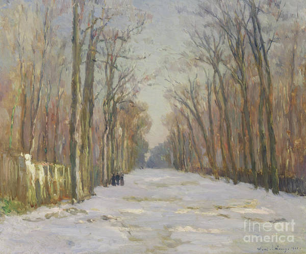 Winter Walk Painting - Winter Scene, 1891 by Albert-Charles Lebourg