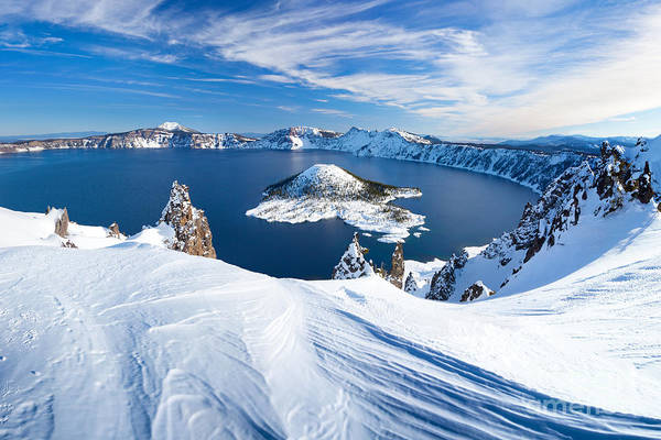 Cliffs Wall Art - Photograph - Winter Scene At Crater Lake Volcano by Matthew Connolly