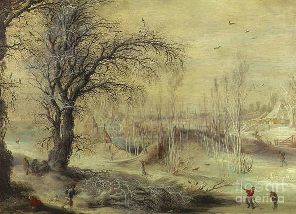 Wall Art - Painting - Winter Scene By Gysbrecht Lytens Or Leytens by Gysbrecht Lytens or Leytens