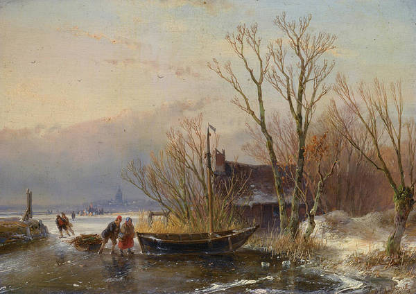 Figure Skater Painting - Winter Scene On The Ice With Wood Gatherers by Andreas Schelfhout