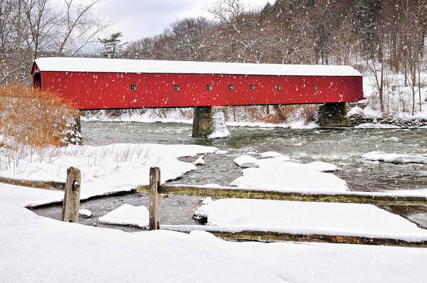 Photograph - Winter Scene-west Cornwall Covered Bridge by T-S Fine Art Landscape Photography