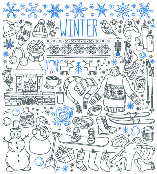 Wall Art - Digital Art - Winter Season Themed Doodle Set - by Primiaou