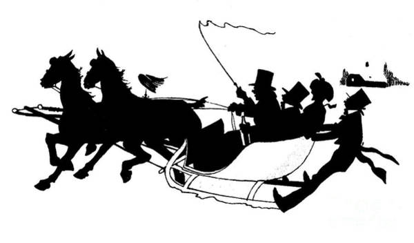 Wall Art - Painting - Winter Sleigh Scene Silhouette by English School