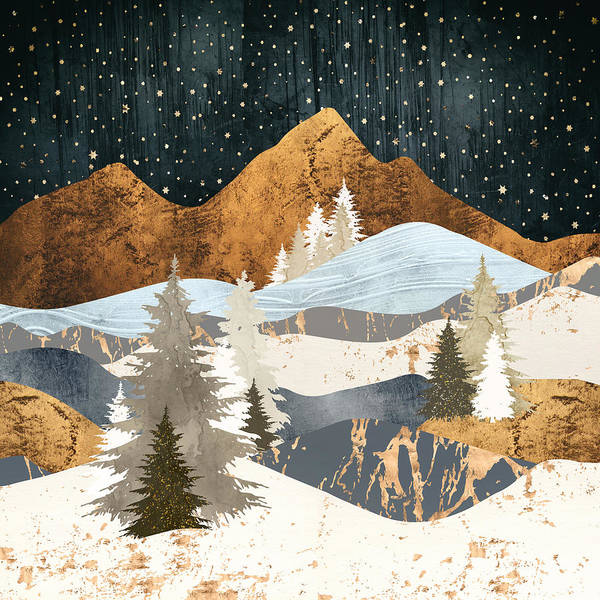 Wall Art - Digital Art - Winter Stars by Spacefrog Designs
