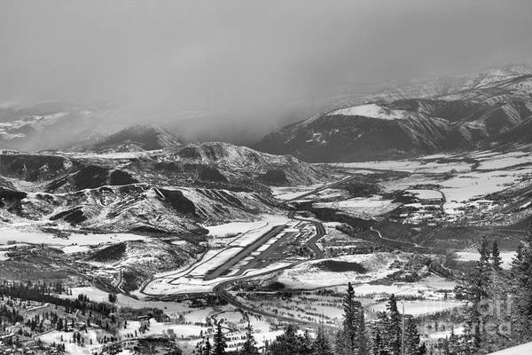 Photograph - Winter Storms Over Aspen Airport Black And White by Adam Jewell