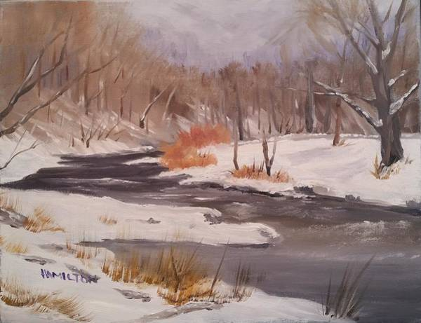 Painting - Winter Stream by Larry Hamilton
