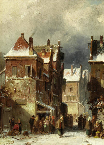 Wall Art - Painting - Winter Street by Charles Leickert