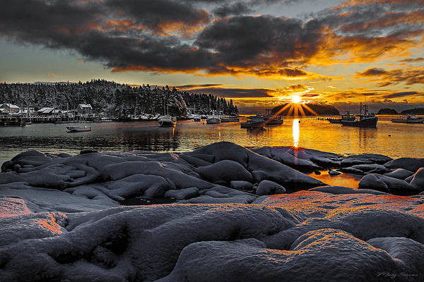 Photograph - Winter Sunrise At Cutler Harbor Maine by Marty Saccone