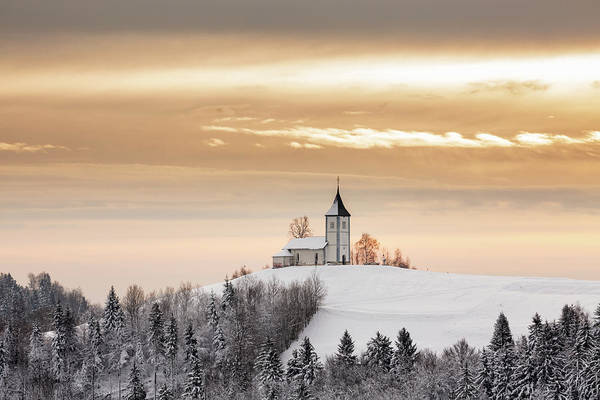 Wall Art - Photograph - Winter Sunrise At Jamnik Church Of Saints Primus And Felician by Ian Middleton