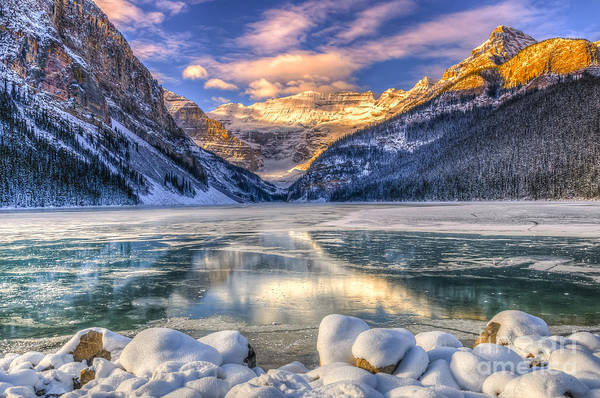 Snowflakes Photograph - Winter Sunrise Over Scenic Lake Louse by Bgsmith