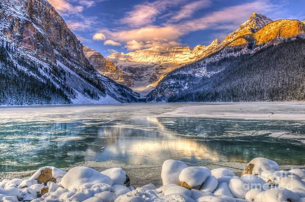 Wall Art - Photograph - Winter Sunrise Over Scenic Lake Louse by Bgsmith