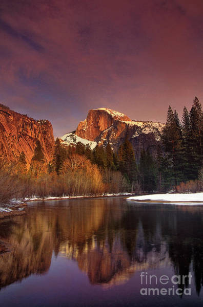 Photograph - Winter Sunset Half Dome Yosemite National Park California by Dave Welling
