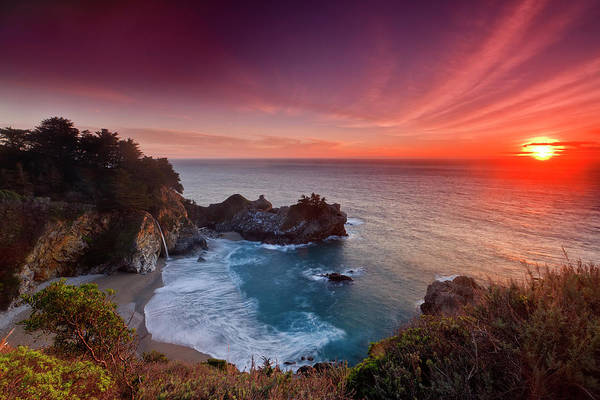 Big Sur Photograph - Winter Sunset, Mcway Falls by Don Smith