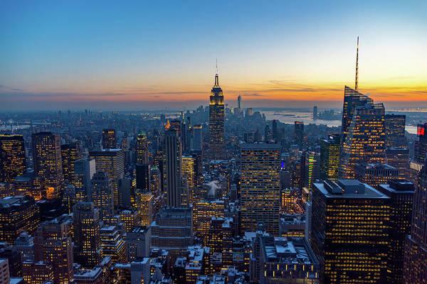 Photograph - Winter Sunset Over Manhattan by Mark Hunter