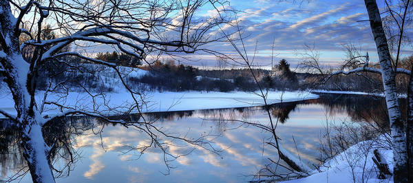 Photograph - Winter Sunset Over The Messalonskee Stream by John Meader