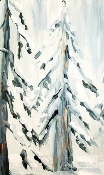 Painting - Winter Trees #4 by Maria Langgle
