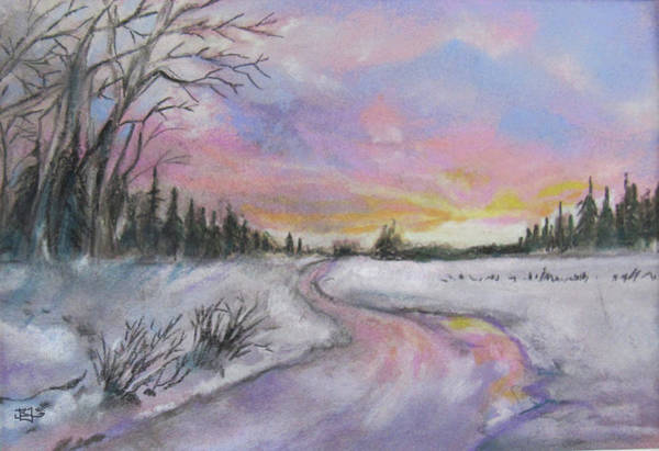 Pastel - Winter Twilight by Jean Batzell Fitzgerald