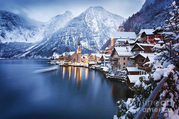 Winter View Of Hallstatt, Traditional Art Print