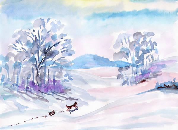 Painting - Winter Walk Of Dogs by Irina Dobrotsvet