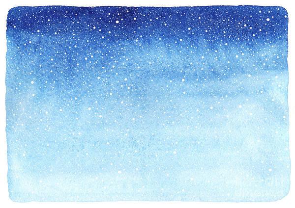 Flakes Wall Art - Digital Art - Winter Watercolor Horizontal Gradient by Rolau Elena