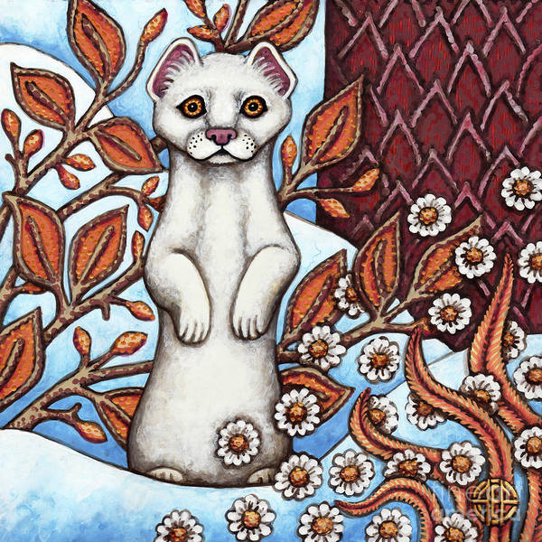 Painting - Winter Weasel by Amy E Fraser