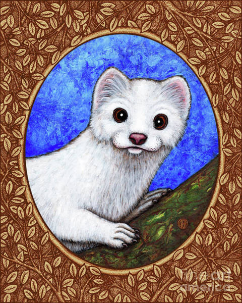 Painting - Winter Weasel Portrait - Brown Border by Amy E Fraser