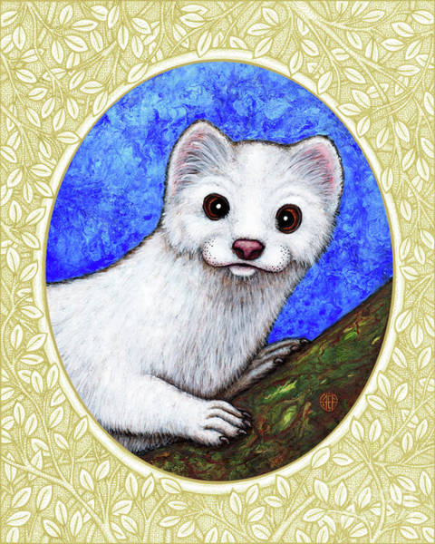 Painting - Winter Weasel Portrait - Cream Border by Amy E Fraser