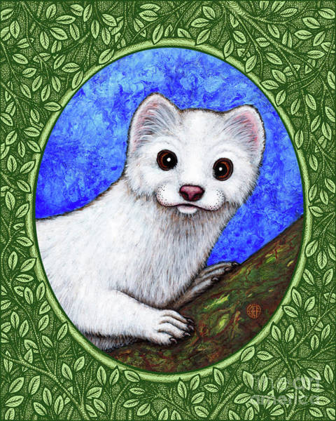 Painting - Winter Weasel Portrait - Green Border by Amy E Fraser