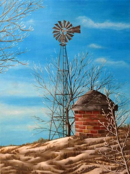 Painting - Winter Windmill - Painting by Ashley Koebrick Schmidt