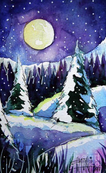 Wall Art - Painting - Winter Wonderland - Winterscape Watercolor - Mona Edulesco by Mona Edulesco