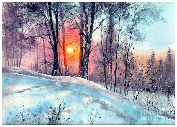 Birches Painting - Winter Woodland In The Sun by Suzann's Art
