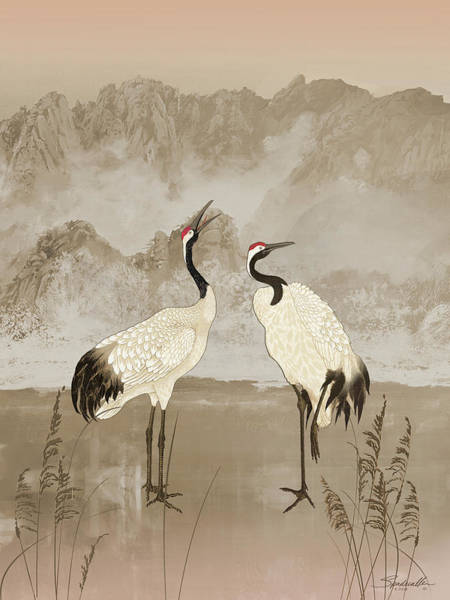 Wall Art - Mixed Media - Wintering Manchurian Cranes by M Spadecaller