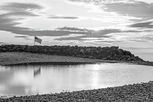 Photograph - Winthrop Beach Winthrop Shore Reservation Flag Reflection Sunrise Winthrop Ma Black And White by Toby McGuire