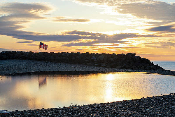 Photograph - Winthrop Beach Winthrop Shore Reservation Flag Reflection Sunrise Winthrop Ma by Toby McGuire