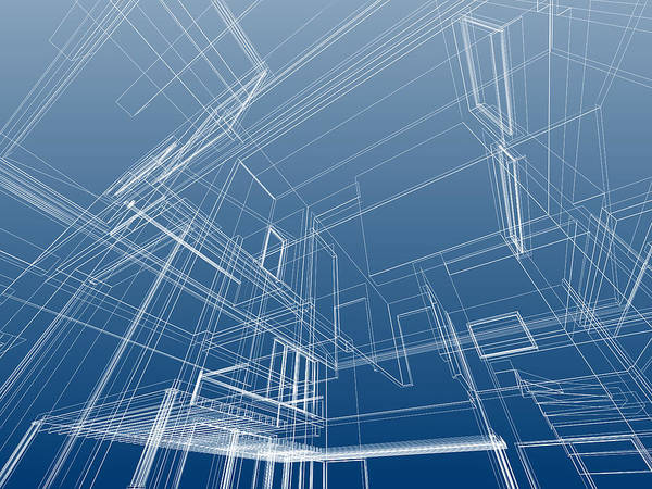 Housing Project Photograph - Wire Frame Architectural Background by Deliormanli