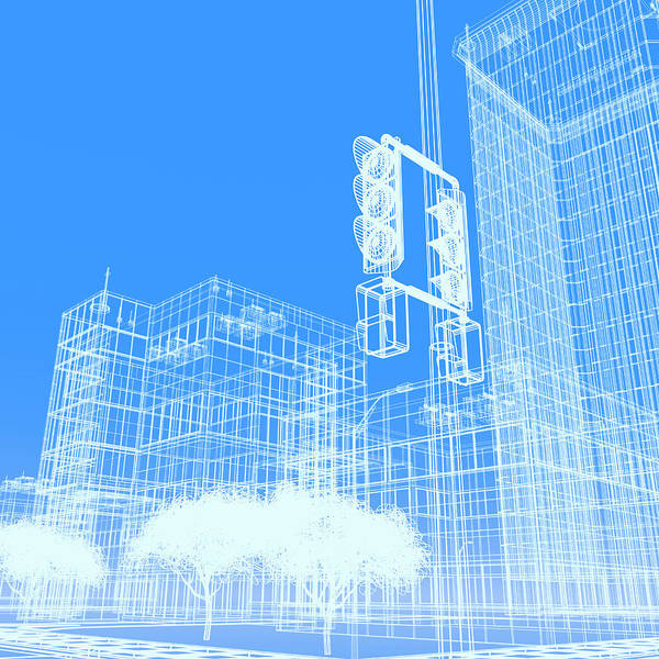 Wire Digital Art - Wireframe Buildings by Mmdi