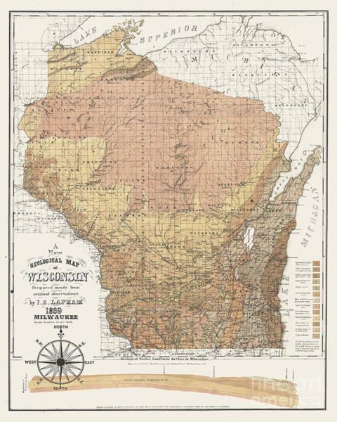 Wi Wall Art - Digital Art - Wisconsin 1869 Map Brown by Jean Plout