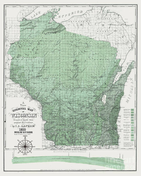 Wi Wall Art - Painting - Wisconsin 1869 Map Green by Jean Plout